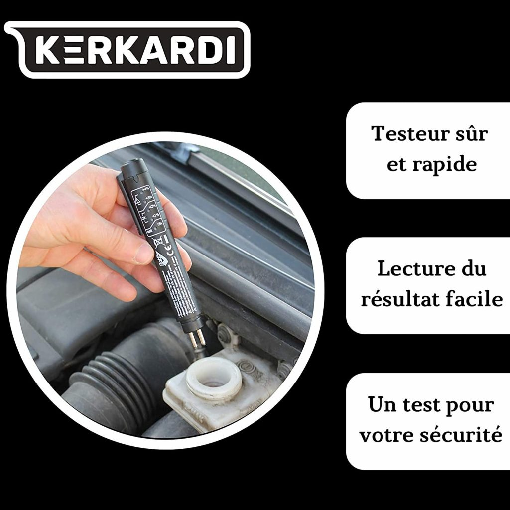 Kerkardi – Testeur Liquide De Frein, Test Liquide De Frein Voiture, Diagnostic Facile avec LED